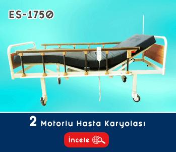 2 Motorlu Ahşap Başlıklı Hasta Yatağı EY-1750