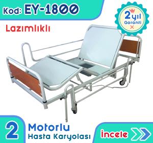 2 motorlu lazımlıklı hasta karyolası ve yatağı EY-1800